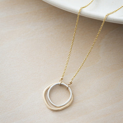 N306g.yg Yellow Gold and Silver Double Square Necklace
