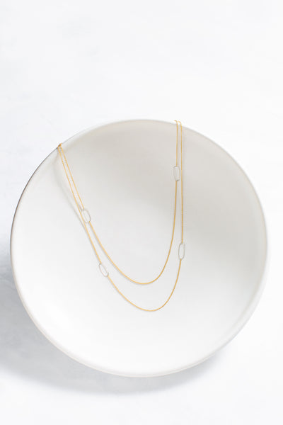 N308g.yg-L Long Rectangle & Delicate Chain Necklace in Yellow Gold and Sterling Silver