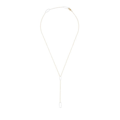 N309g.yg Rectangle Lariat Necklace in Yellow Gold and Sterling Silver