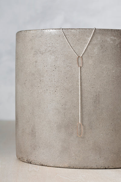 N309s.rg Rectangle Lariat Necklace in Sterling Silver and Rose Gold