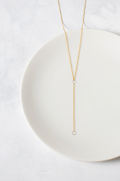 N310g.yg Square Lariat Necklace in Yellow Gold and Sterling Silver