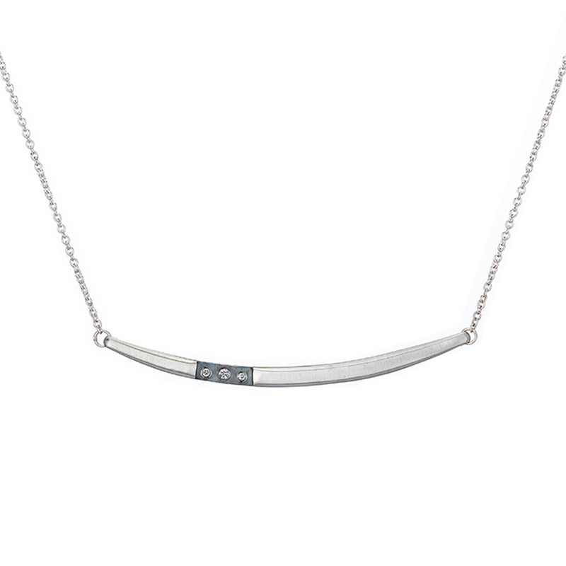 N312 Black & White Channel Arc Necklace with Tiny Diamonds