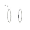 E356 Black & White Channel Circle Hoop Earrings with Tiny Diamonds