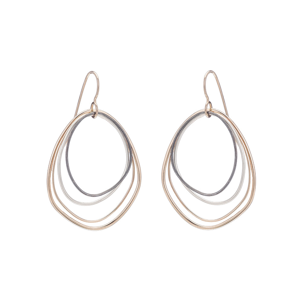 E287g.yg Topography Earrings in Yellow Gold, Silver and Black Oxidized Silver (Mostly Gold)