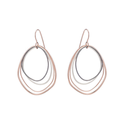 E287g.rg Topography Earrings in Rose Gold, Silver and Black Oxidized Silver (Mostly Gold)