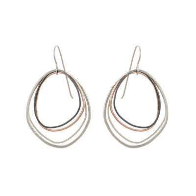 E287s.rg Topography Earrings in Rose Gold, Silver and Black Oxidized Silver (Mostly Silver)