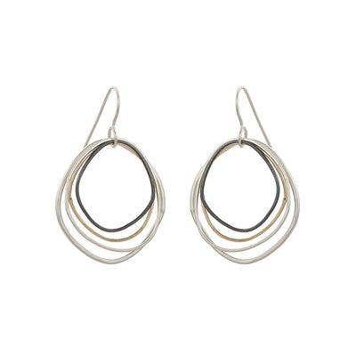 E286s.yg Small Yellow Gold, Silver and Black Topography Earrings