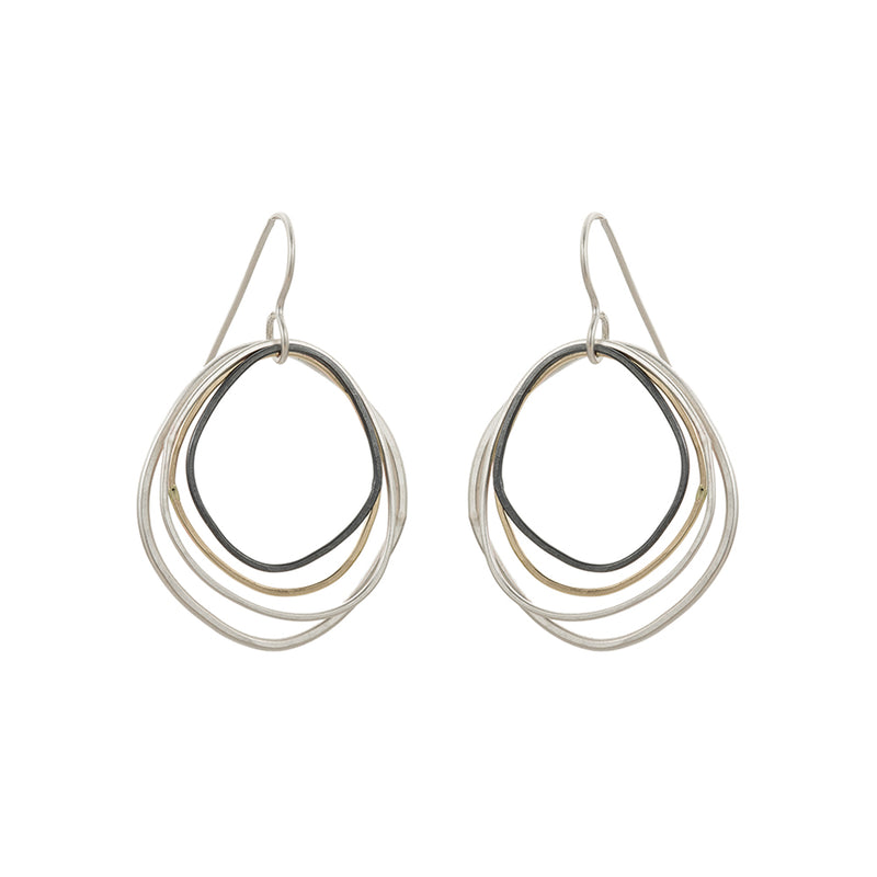 E286g.yg Small Yellow Gold, Silver and Black Topography Earrings