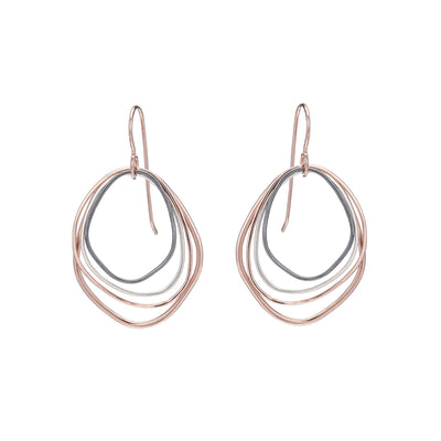 E286g.rg Small Rose Gold, Silver and Black Topography Earrings