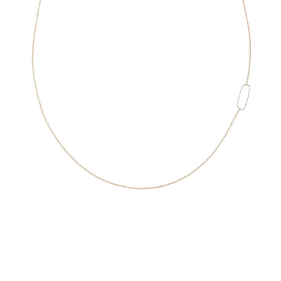 N308g.rg Rectangle & Delicate Chain Necklace in Rose Gold and Sterling Silver