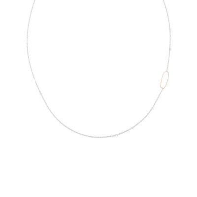 N308s.rg Rectangle & Delicate Chain Necklace in Sterling Silver and Rose Gold
