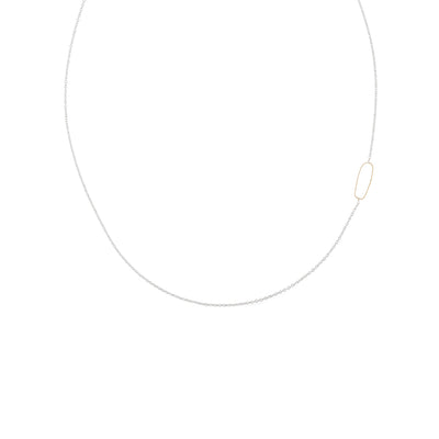 N308s.yg Rectangle & Delicate Chain Necklace in Sterling Silver and Yellow Gold
