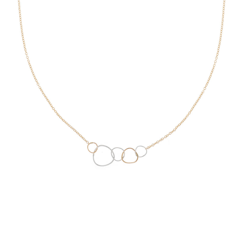 N311s.rg.yg 5-Loop Mini Pebble Necklace in Sterling Silver, Rose Gold and Yellow Gold