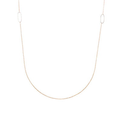 N308g.rg Long Rectangle & Delicate Chain Necklace in Rose Gold and Sterling Silver