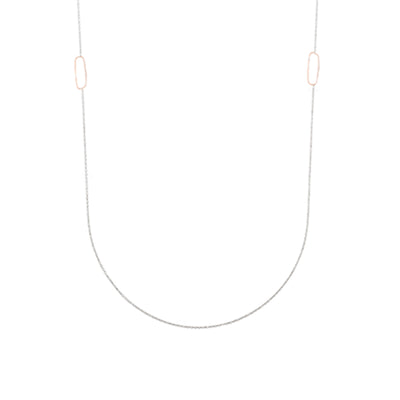 N308s.rg-L Long Rectangle & Delicate Chain Necklace in Sterling Silver and Rose Gold