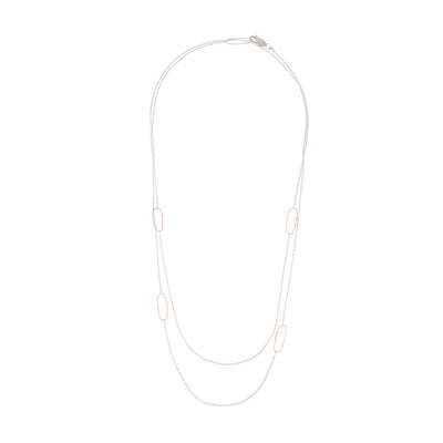 N308s.rg-L Long Rectangle & Delicate Chain Necklace in Sterling Silver and Rose Gold - Doubled Up