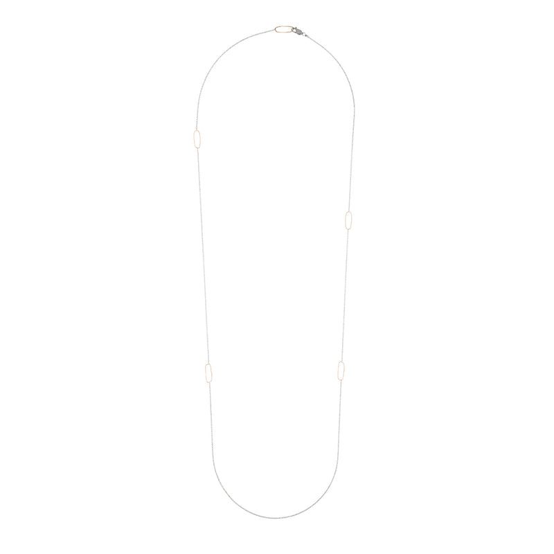 N308s.yg-L Long Rectangle & Delicate Chain Necklace in Sterling Silver and Yellow Gold