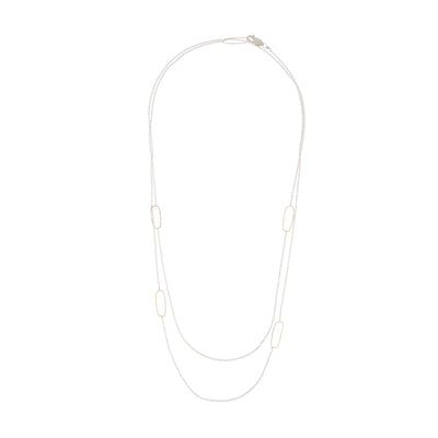 N308s.yg-L Long Rectangle & Delicate Chain Necklace in Sterling Silver and Yellow Gold - Doubled Up