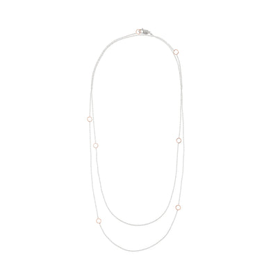N304s.rg-L Delicate Chain Necklace in Sterling Silver and Rose Gold - Doubled Up