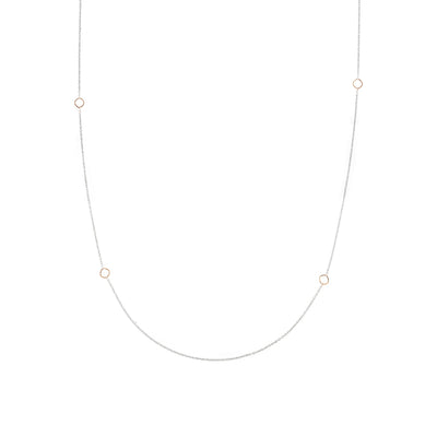 N304s.yg-L Delicate Chain Necklace in Sterling Silver and Yellow Gold