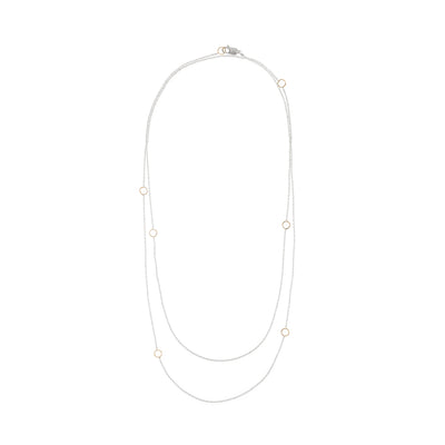 N304s.yg-L Delicate Chain Necklace in Sterling Silver and Yellow Gold - Doubled Up