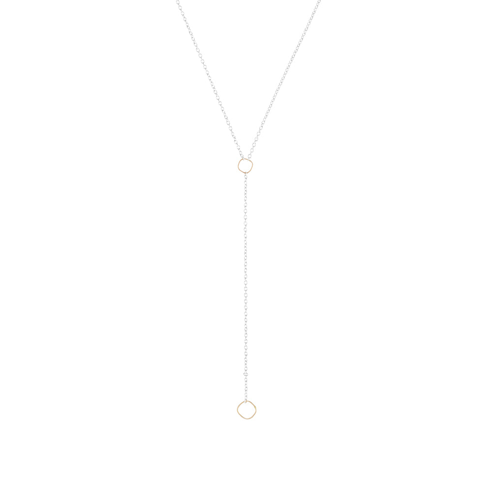 N310s.yg Square Lariat Necklace in Sterling Silver and Yellow Gold