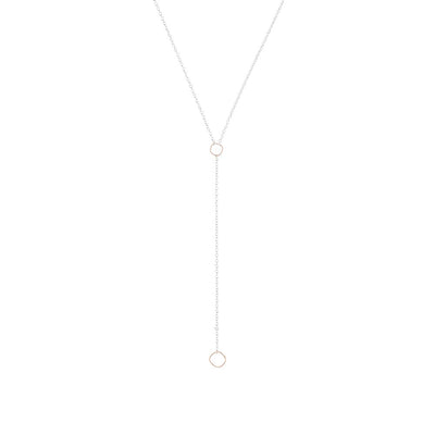 N310s.rg Square Lariat Necklace in Sterling Silver and Rose Gold