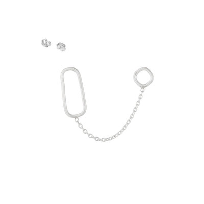E352s Square, Rectangle & Chain Double Post Earring in Sterling Silver
