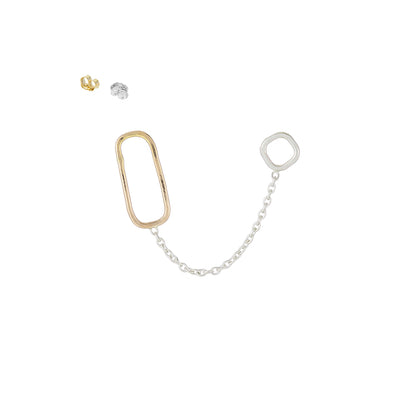 E352s.yg Square, Rectangle & Chain Double Post Earring in Sterling Silver and Yellow Gold