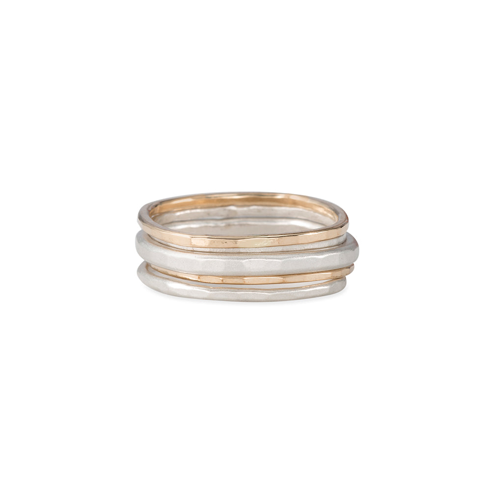 R19s.yg 5-Stack Short Round Silver & Gold Ring Set