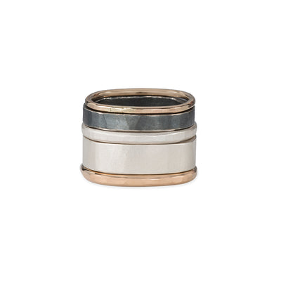 R36x.RND 5-Stack Black, Gold & Silver Round Densa Ring