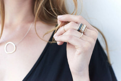 R36x.SQ Mixed Metal Stack Ring, TTRS Two Toned Mixed Metal Yellow Gold and Silver Thick Individual Ring