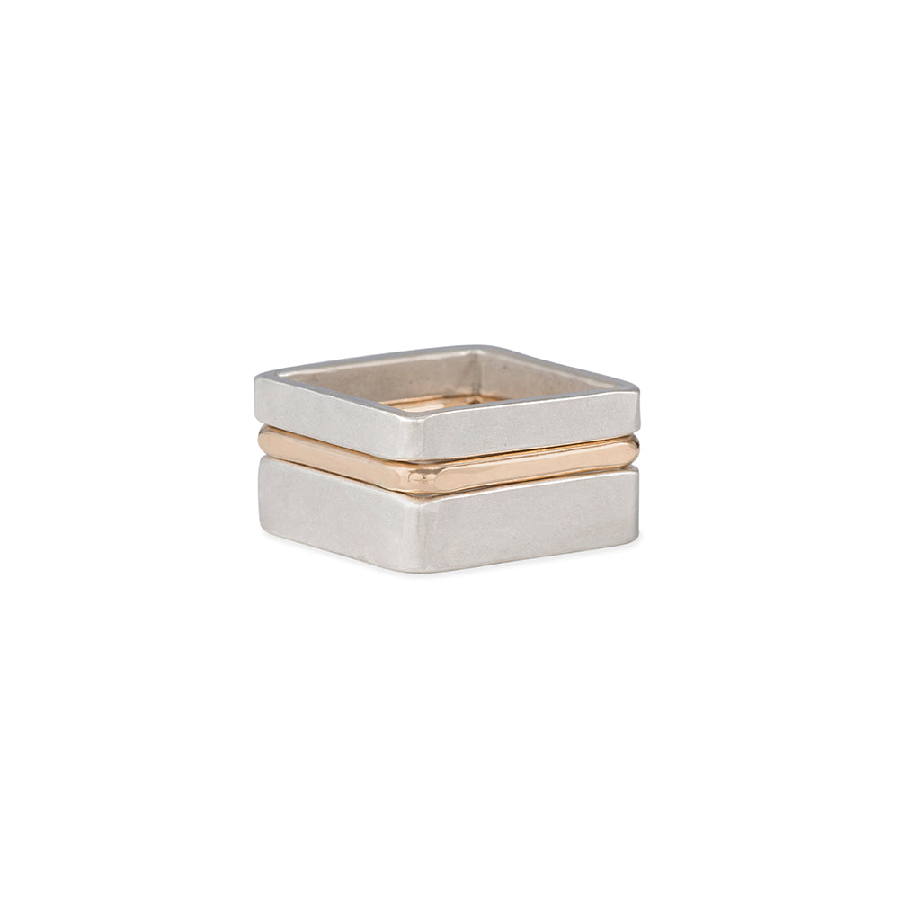 R37.SQ 3-Stack Two-Toned Square Densa Ring Set in Silver and Gold