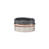 R38rg.RND 3-Stack Two-Toned Round Densa Ring Set in Rose Gold, Sterling and Black Oxidized Silver