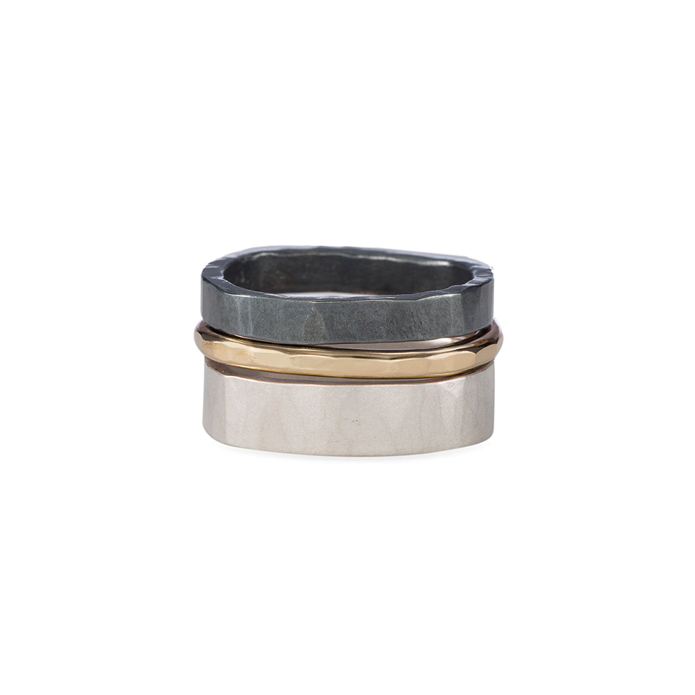 R38x.RND 3-Stack Two-Toned Round Densa Ring Set in Yellow Gold, Sterling and Black Oxidized Silver