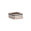 R42rg.SQ 5-Stack Tri-Toned Mixed Metal Square Ring With Wide Band in Rose Gold, Sterling and Oxidized Silver