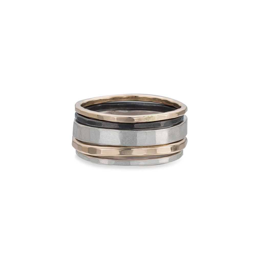 5 or 7-Stack Tri-Toned Round Densa Ring Set