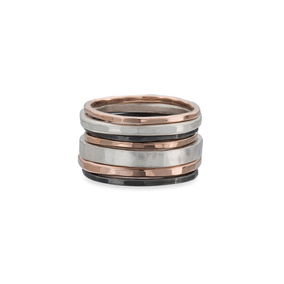 R43rg.RND 7-Stack TRI-Toned Mixed Metal Round Ring With Wide Band in Rose Gold, Sterling Silver and Black Oxidized Silver