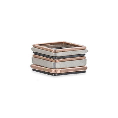 R43rg.SQ 7-Stack TRI-Toned Mixed Metal Square Ring With Wide Band in Rose Gold, Sterling and Oxidized Silver