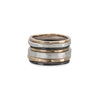R43yg.RND 7-Stack TRI-Toned Mixed Metal Round Ring With Wide Band in Yellow Gold, Sterling Silver and Black Oxidized Silver