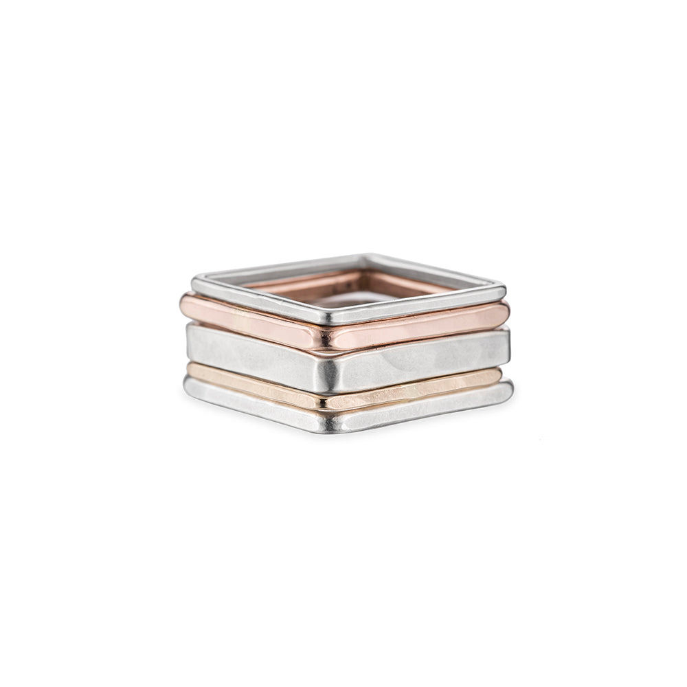 R44.SQ 5-Stack Mixed Metal Square Stack in Rose Gold, Sterling Silver & Yellow Gold