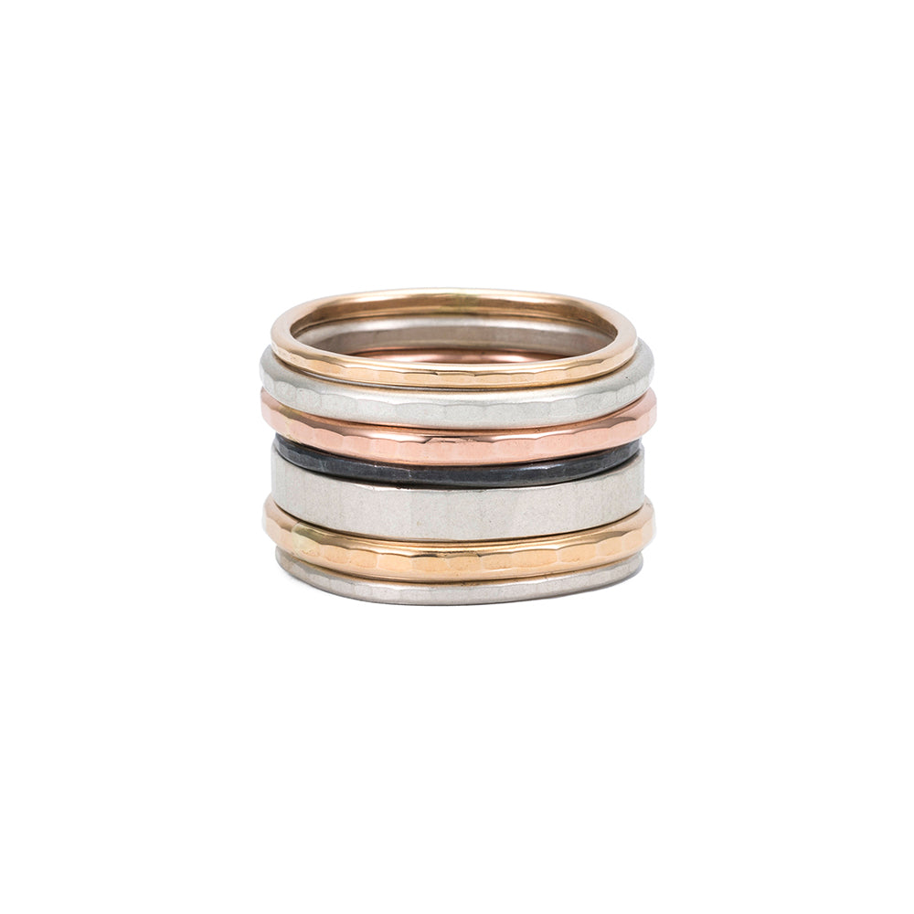 5 or 7-Stack Four-Color Round Ring Set