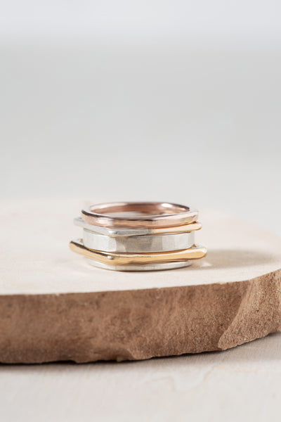 R50.SQ.RND 5-Stack Mixed Shape Ring Stack