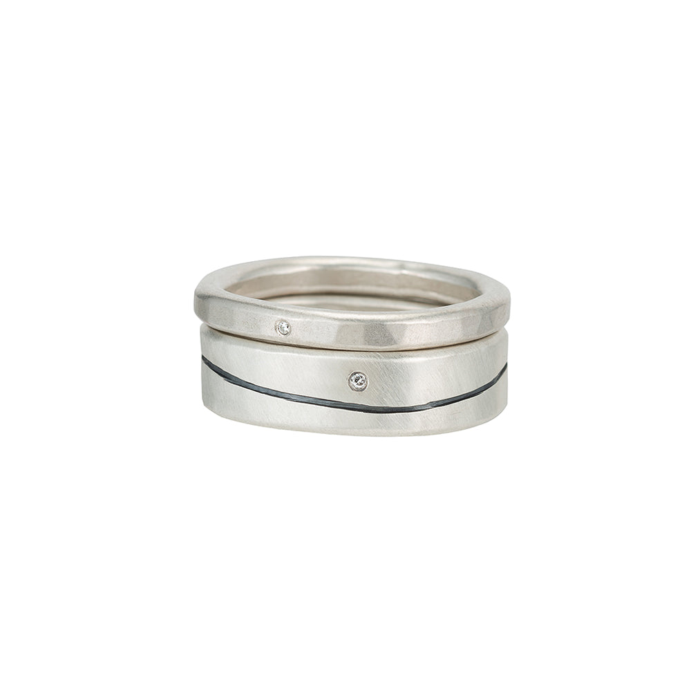 R-R52.RND-1.0 Line & Diamond Round Stack Ring Set