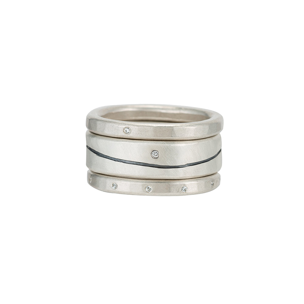 R53.RND-1.0 3-Stack Line & Diamond Stack Ring Set
