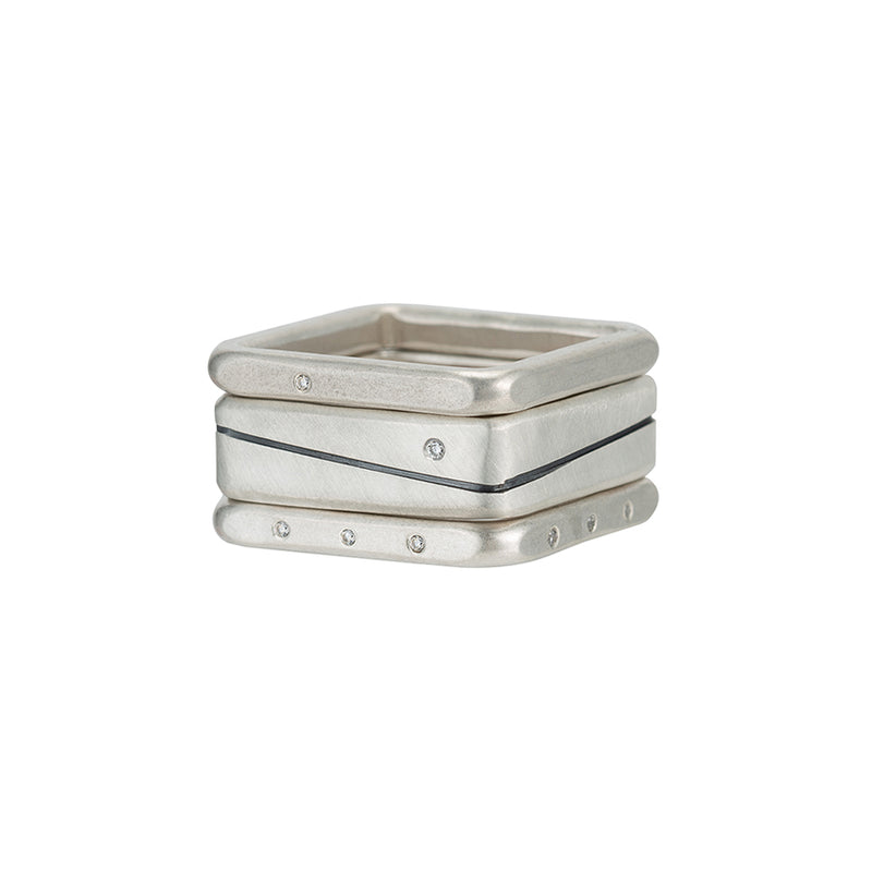 R53.SQ-1.0 3-Stack Line & Diamond Stack Ring Set