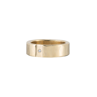 14k Gold Channel & Diamond Round Ring (NEW!)
