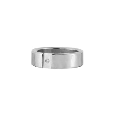 Silver Channel & Diamond Round Ring (NEW!)