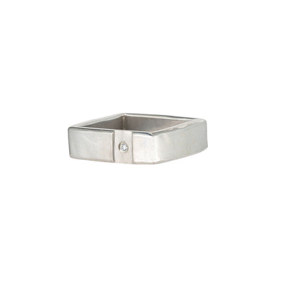 Silver Channel & Diamond Square Ring (NEW!)