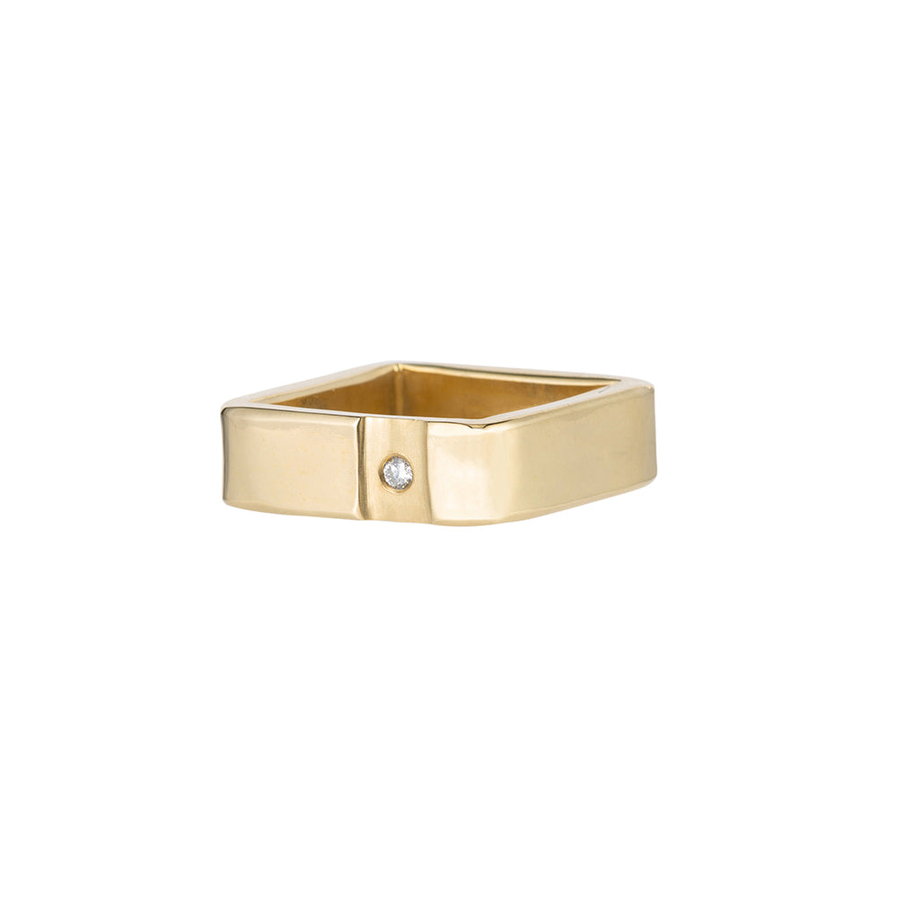 14k Gold Channel & Diamond Square Ring (NEW!)